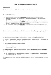 Transmission du mouvement – Leçon – Cm1 – Cm2 – Sciences – Cycle 3