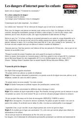 Les dangers d'internet pour les enfants - Informatique - Ce2 cm1 cm2 - Sciences - Cycle 3