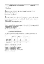 Généralité sur les problèmes  – Cm1 – Exercices – Cycle 3   -2-