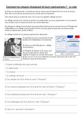 Comment les citoyens choisissent leurs représentants –  Le vote – Ce2 cm1 cm2 – Document, questions, correction