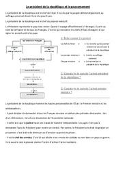 Le président de la république et le gouvernement – Cm1 cm2 – Document, questions