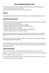 Etre un citoyen français : le vote – Cm1 cm2 – Leçon
