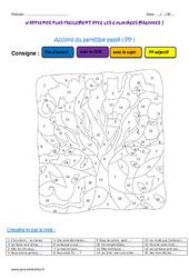 Accord du participe passé - Cm1 - Coloriage magique