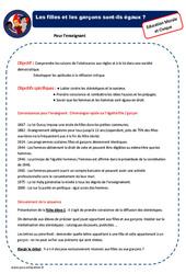 Filles et garçons - Ce1 - Ce2 - EMC - Fiche de préparation - Séquence