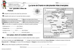 Grandes villes françaises - Carte de France -  Ce2 - Exercices