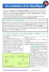 Institutions de la République - Cm1 - Cm2 - EMC