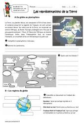 Représentations de la Terre - Ce2 - Exercices