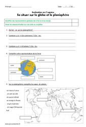 Se situer sur le globe et le planisphère – Ce2 – Evaluation
