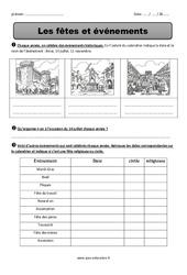 Fêtes et événements - Ce2 - Exercices