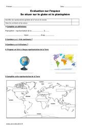 Globe – Planisphère – Ce1 – Evaluation