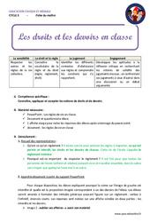 Droits et devoirs en classe – Cm1 – Cm2 – Fiche de préparation