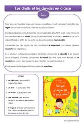Droits et devoirs en classe – Cm1 – Cm2 – Leçon