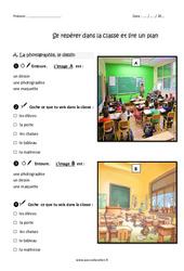 Se repérer dans la classe et lire un plan – Ce1 – Exercices