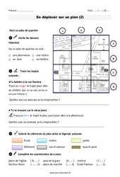 Se déplacer sur un plan  – Ce1 – Exercices – Plan de quartier