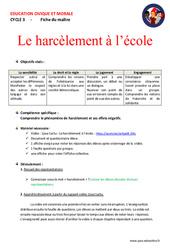 Le harcèlement à l'école – Cm1 – Cm2 – Fiche de préparation – EMC