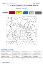 Passé composé – Verbes du 1er groupe – Cm1 – Coloriage magique