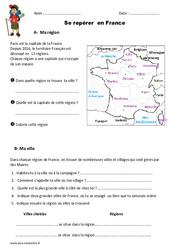 Se repérer en France - Ce1 - Exercices