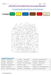 Passé simple des verbes du 2è et 3è groupe – Cm1 – Coloriage magique