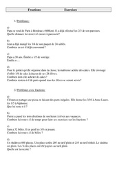 Fractions – Problèmes – Cm2 – Exercices – Cycle 3 – 1