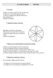 Cercle – Disque – Cm1 – Exercices – Géométrie – Cycle 3   -2-