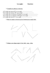 Angles – Cm1 – Exercices – Géométrie – Cycle 3