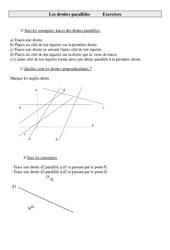 Droites parallèles – Cm1 – Exercices  – Géométrie – Mathématiques – Cycle 3