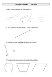 Droites parallèles – Cm1 – Exercices  – Géométrie