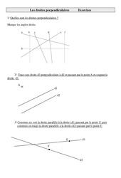 Droites perpendiculaires – Cm1 – Exercices – Géométrie – Mathématiques – Cycle 3