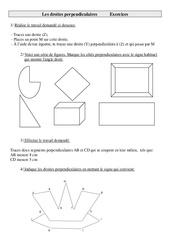 Droites perpendiculaires – Cm1 – Exercices – Géométrie