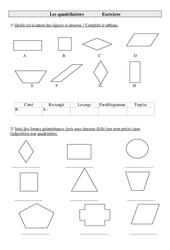 Quadrilatères – Cm1 – Exercices