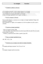 Triangles – Cm1 – Exercices – Géométrie - Cycle 3