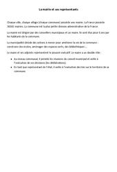 La mairie et ses représentants – Ce2 cm1 – Instruction civique – Leçon