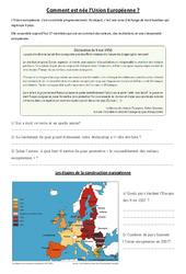 Comment est né l'union européenne - Cm1 cm2 - Instruction Civique: Etre un citoyen européen - Documents, questions, correction