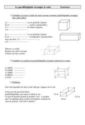 Parallélépipède rectangle, le cube – Cm2 – Exercices – Géométrie – Cycle 3