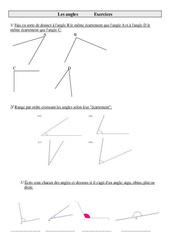 Angles – Cm2 – Exercices – Géométrie – Mathématiques – Cycle 3 –