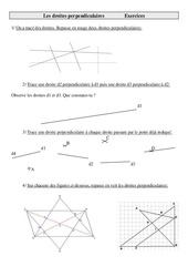 Droites perpendiculaires – Cm2 – Exercices – Géométrie – Mathématiques – Cycle 3
