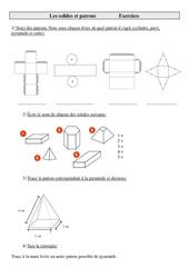 Solides et patrons – Cm2 – Exercices de géométrie à imprimer