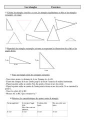 Triangles – Cm2 – Exercices – Géométrie – Cycle 3