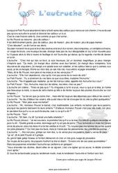 L'autruche  – Cm1 cm2 – Lecture – Récit – Compréhension – Rédaction