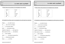 Verbe avoir au présent  - Ce1 - Exercices - Conjugaison