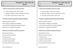 Reconnaître le verbe dans une phrase – Ce1 – Exercices