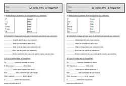 Verbe être à l'imparfait - Ce1 - Exercices à imprimer