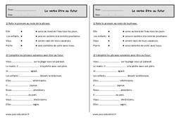 Conjuguer le verbe être au futur  – Ce1 – Exercices à imprimer
