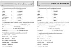 Accord du verbe avec le sujet – Ce1 – Exercices – Grammaire