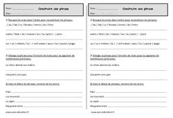 Construire une phrase - Exercices - Ce1 - Grammaire