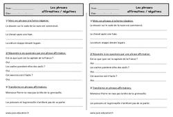 Phrase négative et phrase affirmative - Ce1 - Exercices à imprimer