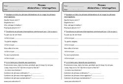 Phrase déclarative et interrogative - Ce1 - Exercices à imprimer