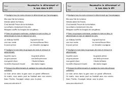 Déterminant - Groupe nominal  - Exercices à imprimer - Ce1