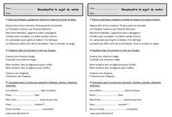 Reconnaître le sujet du verbe - Ce1 - Exercices