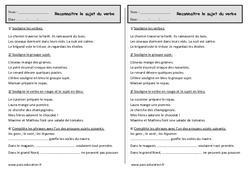 Reconnaître le sujet du verbe - Ce1 - Exercices à imprimer
